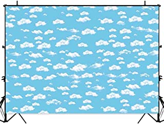 Allenjoy 7x5ft Blue Sky White Clouds Children Birthday Party Backdrop Airplane Pilot Theme Cake Table Banner Baby Shower Decorations Kids Photography Background Photo Studio Booth Props