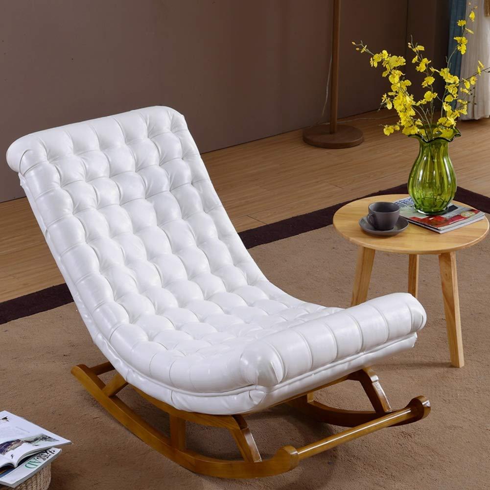 Q.AWOU Mecedora Jardín Relax Muebles Sillón de Interior Sillón Tapizado Tumbonas Decoración Muebles Porches Balcón Asiento mecedor, 4 Color (Color: Blanco, Tamaño: 106x60x92cm): Amazon.es: Hogar