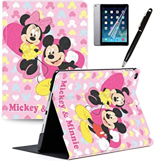 LJX iPad 9.7 inch Case 2018 iPad 6th Gen 2017 iPad 5th Generation Case, Mickey and Minnie Cute Cover PU Leather Stand Protection Smart Auto Sleep/Wake Shell for iPad Air 2 iPad Air #K