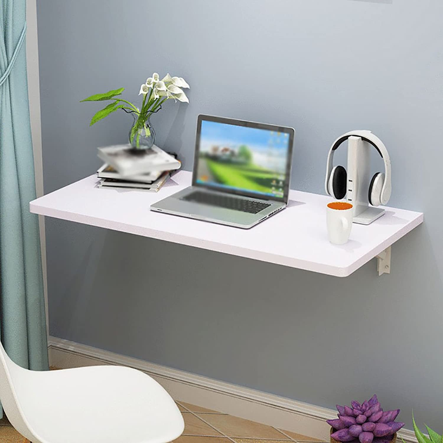 LXF Wall-mounted folding table Simple Wall Tables Fillet Safety Design Waterproof Collapsible Save Space (Size   60  40cm)