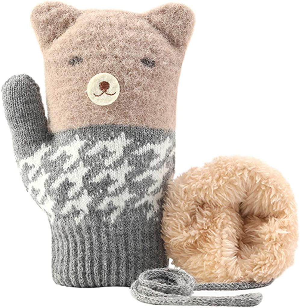 Kids Winter Gloves Knit Outdoor Windproof Warm Thermal Gloves for Boys Girls Mittens