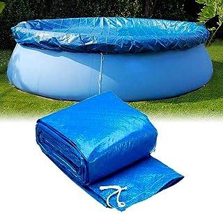 Hereb - Cubierta para piscina sobre el suelo, cubierta de red para hojas de alberca, impermeable para el suelo, cubierta de lona inflable en forma de plato, Azul 244 cm.