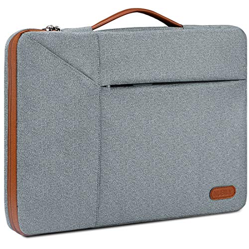 "Borsa Porta PC 14 Pollici Custodia PC Impermeabile Antiurto Borsa per Laptop Notebook Ultrabook Portatile Ventiquattrore per MacBook Air 13"",MacBook Pro 15 Pollici 2019/2018/2017/2016, Grigio Chiaro"