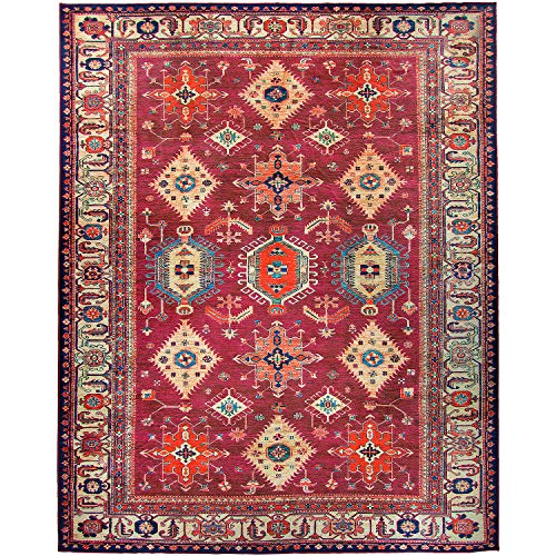 """RUGGABLE Noor Ruby Washable Indoor/Outdoor Stain Resistant 8'x10' (94""""x120"""") Area Rug 2pc Set (Cover and Pad)"""
