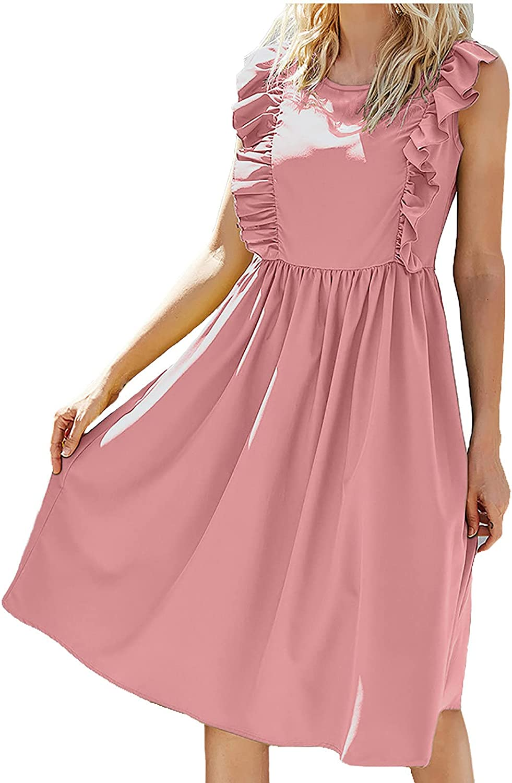 Summer Women Casual Long Dress Vintage O-Neck Loose Skirt Solid Sleeveless Ruffles Longuette Beach Dresses