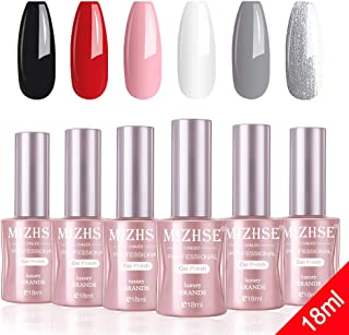 MIZHSE Gel Nail Polish Set -18ml Classic Nail Gel Polish Fresh Nails Pink Red Black White Gray Sliver Glitter Gel Nail Soak Off UV LED Manicure Nail Art Kit Pack of 6 Colors