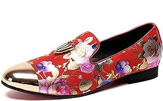 Rui Landed ファッションオックスフォード男性のためのカジュアルシューズスリップオンスタイル高品質繊細な刺繍入りの高級金属装飾品金属つま先 (Color : 赤, サイズ : 28 CM)