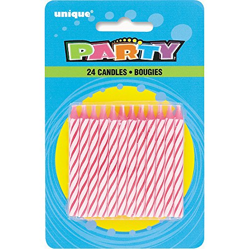 Unique Party 1905PC - Striped Pink Birthday Candles, Pack of 24