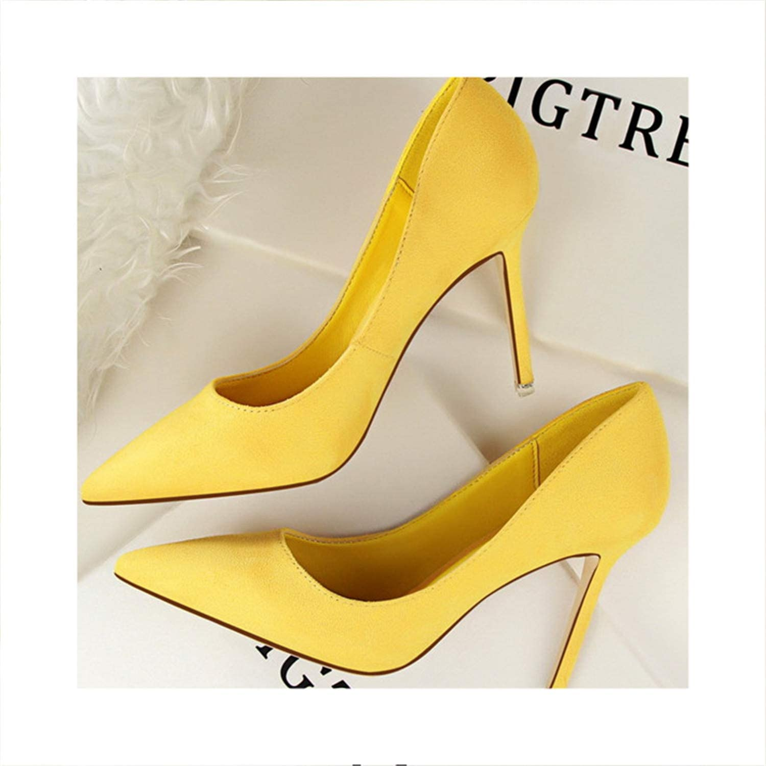 Fashion Pointed Toe Women Pumps Solid Flock Shallow High Heels 9 colors