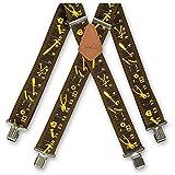 Bretelles pour homme Brimarc, motif ruban à mesurer noir de M.K. Tools