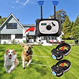 Wireless Dog Fence Electric Pet Containment System, Safe Effective Beep/Shock Dog Fence, Adjustable Control Range 1000 Feet & Display Distance, Rechargeable Waterproof Collar (Black, 2 Dog System)