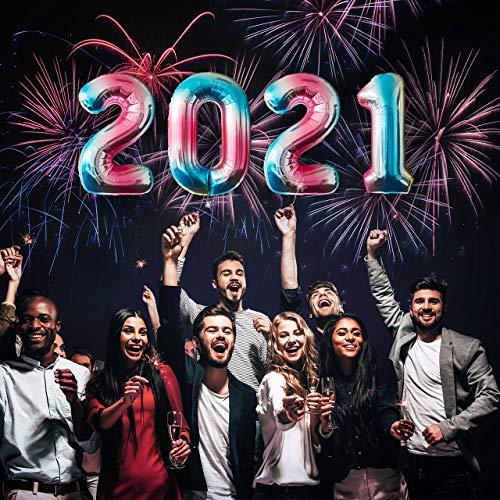 MBW Folienballon Helium Luftballons Zahlen für Silvester-Party Happy New Year 2021 Deko Neujahr Abi
