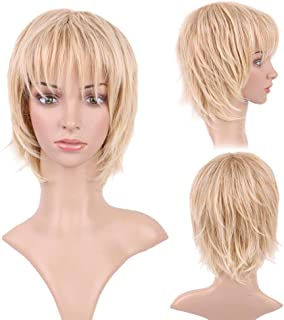 Synthetic Short Cosplay Wigs with Bangs Light Ash Blonde Wig for Women Men Layered Fluffy Hair Tail 4.5inch