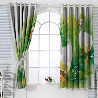 Jinguizi Rubber Duck Black Out Window Curtain Goose in Farm Lake Plants Grass Reeds Flowers Pond Animals Geese Feathers Small Window Curtain Green and White 55 x 40 inch