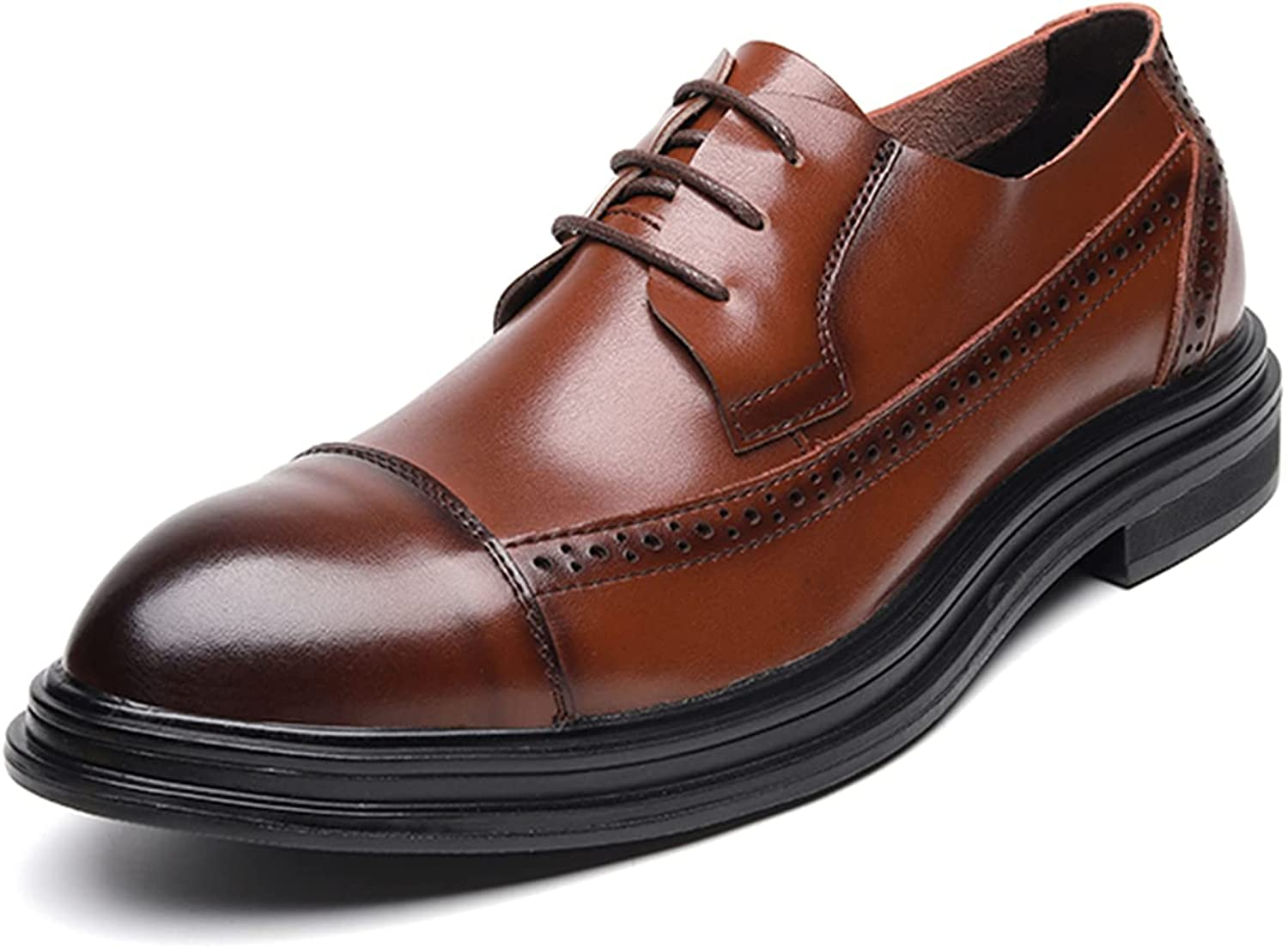 Men's Oxford Dress Shoes Straight Tip Leather Shoes Lace-up Shoes Commuting Breathable Business Shoes