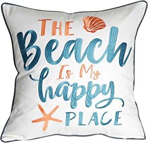 DECOPOW Embroidered The Beach is My Happy Place Throw Pillow Cover,Square 18 inches Decorative Canvas Pillow Cover with The Beach is My Happy Place Pattern,Cover Only