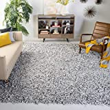Safavieh Leather Shag Collection LSG601C Hand-Knotted Grey and White Decorative Area Rug (5' x 8')