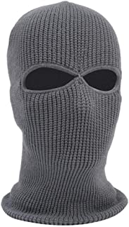 2 Holes Knit Full Face Cover Ski Mask Adult Winter Balaclava Beanie for Outdoor Sport
