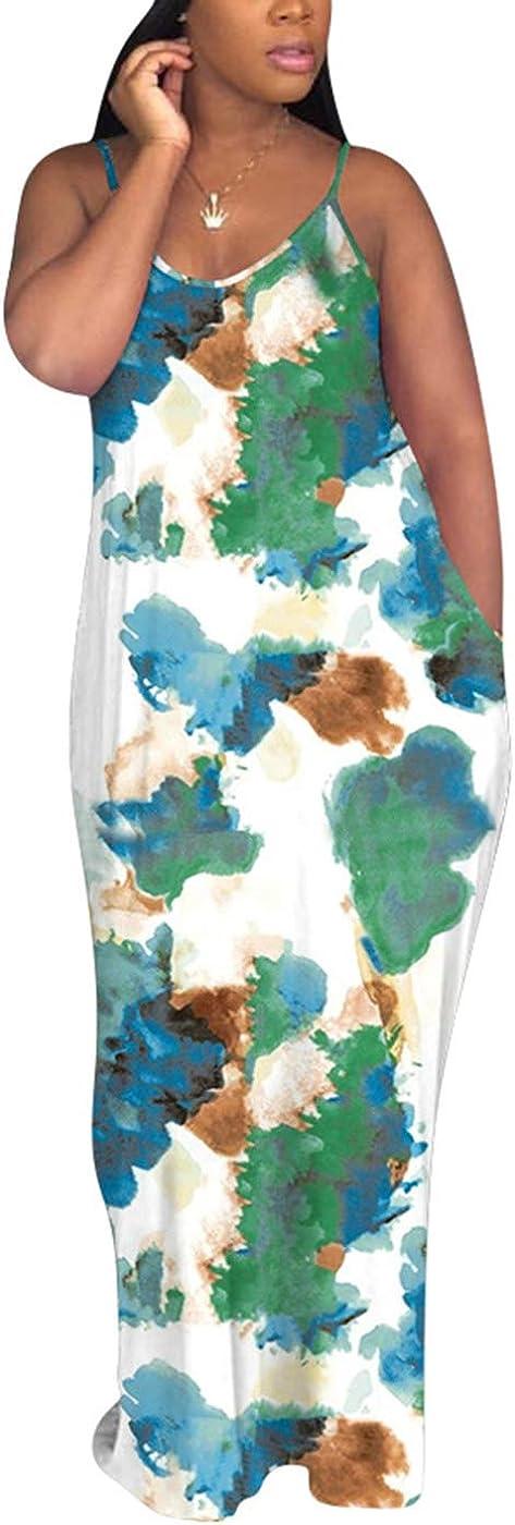 Women's Casual Sexy Summer Floral Print Long Maxi Dresses Floor Length Spaghetti Strap Beach Sundresses