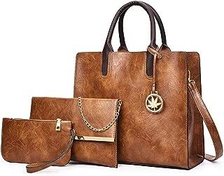 Big Bag Female Wild Leather Bag Simple Shoulder Messenger Bag 3pcs Satchels Top Handle Shoulder Crossbody Bags (Color : Brown, Size : M)