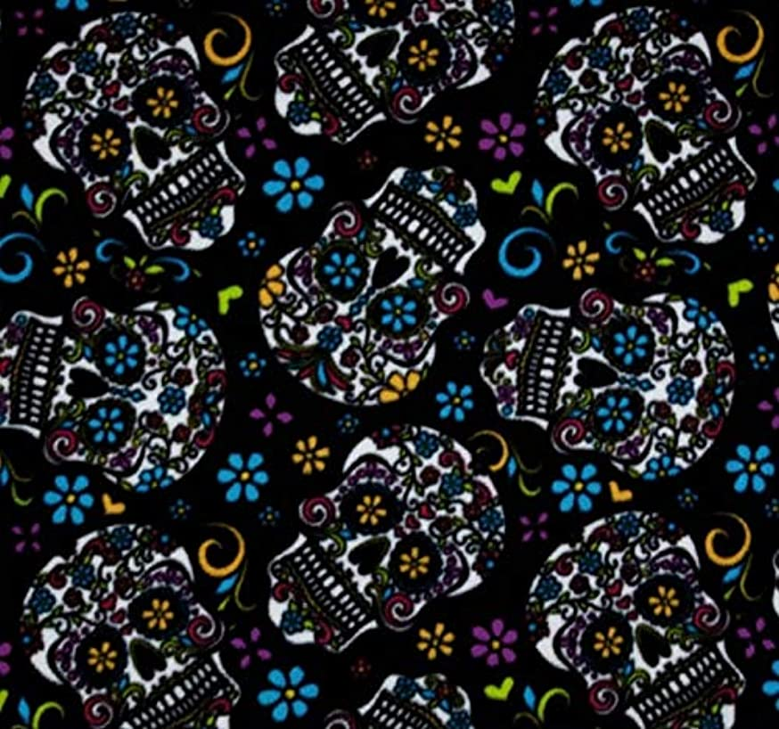 David Textiles Fleece Fabric - 2 Yards (Calavera Black)