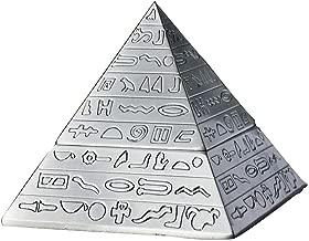 Rubbish Bin Ashtray Set Retro ashtray creative home pyramid shape metal sculpture cigarettes ashtray living room decoration (12.9 * 12.9 * 11.2 cm) silver منفضة سجائر