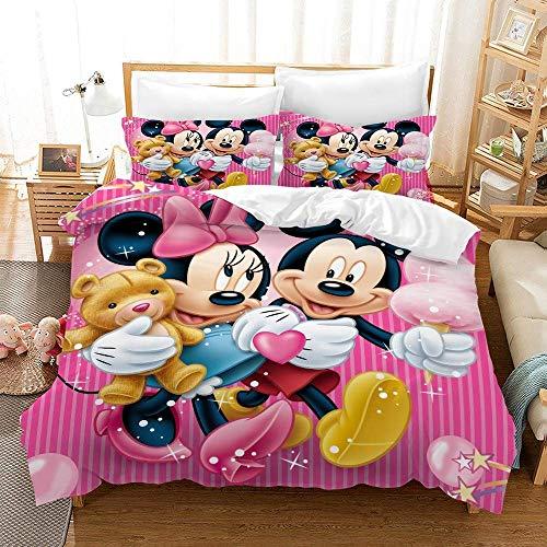 JXSMYT Juego de ropa de cama infantil de microfibra, diseño de Mickey, Minnie, Blancanieves, ropa de cama 3D para niñas, 2/3 piezas, color rosa (02,200 x 200 cm + 2 x 80 x 80 cm)
