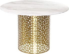 Marble Coffee Table, Metal Side Table Corner Table, Waterproof Heat Insulation Round Table in The Living Room, 100x75x57cm