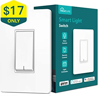 Treatlife Smart Light Switch, Neutral Wire Needed, 2.4Ghz Wi-Fi Light Switch, Works with Alexa, Google Assistant and IFTTT, Schedule, Remote Control, Single Pole, ETL Listed (1 PACK)