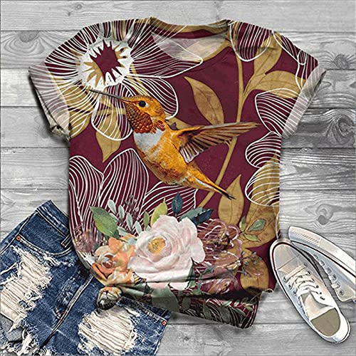 VIQNJ Camiseta con Estampado Animal Mujer Manga Corta Kawaii Top Ropa Femenina Verano estética gráfica Camiseta Linda chica-F5S394ZS_XXXL