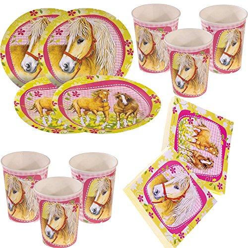Unbekannt Set di 52 pezzi per feste con cavalli – Charming Horses – piatti, bicchieri, tovaglioli per 16 bambini