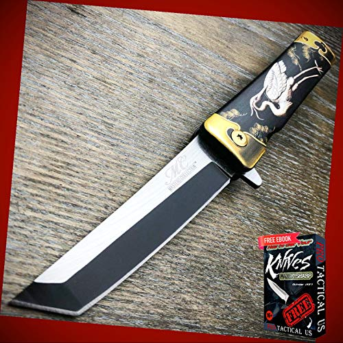 New 8' inch Tanto Japanese Style Katana Heron Bird Assisted Spring Folding Pocket ProTactical Knife BA-0883kn + Free eBook by PrTac-US