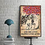 Inspirational Dictionary Girl Happily Ever French Bulldog Poster Paper Print, Ideal Home Decor Wall Art - Vintage Poster On Birthday, Christmas Family Friend Awesome Gi