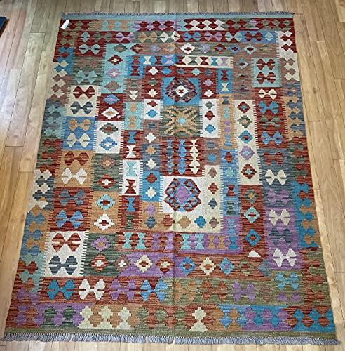 Alfombra oriental afgana hecha a mano Kilim de lana de colores naturales afganos turcos nómada persa tradicional persa 147 x 210 cm vintage corredor pasillo escalera reversible