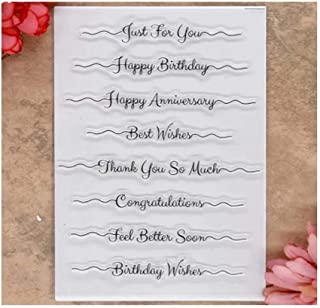 Kwan Crafts Words Just for You Happy Birthday Best Wishes Congratulations Clear Stamps for Card Making Decoration and DIY Scrapbooking