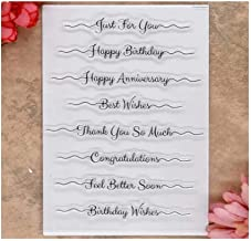 MaGuo Phrase Clear Stamps Get Well Just Because Miss You Happy Birthday Anniversary with Sympathy for Card Making Decoration