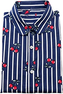 Keetall Women Cherry Long Sleeve Shirt Collar Floral Blouse Vintage Cotton Shirt