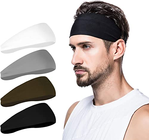 poshei Mens Headband (4 Pack), Mens Sweatband & Sports Headband for Running, Crossfit, Cycling, Yoga, Basketball - St...