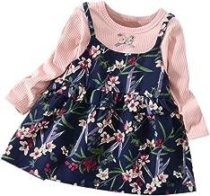 RONSHIN Stylish Clothes Children Girls Cotton Dress Fashionable Fake Two Pieces Floral Princess Dress For Kids Pink XL (100 cm wear)