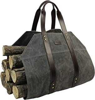 Log Carrier|Waxed Canvas Log Holder|Firewood Carrier Tote Bag|Fireplace Wood Stove Accessories-Grey