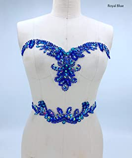 Rhinestone Applique with Crystal Trim 3D lace Patches Great for DIY Neckline Bodice Belt Wedding Bridal Prom Dress A3 (Royal Blue)