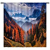 ANHOPE Scenery Curtains Nature Theme Window Drapes with Autumn Forest Tree Foggy Mountain Landscape Scene Print Pattern Rod Pocket Decor Curtains for Bedroom Living Room Office 2 Panels 42 x 63 Inch