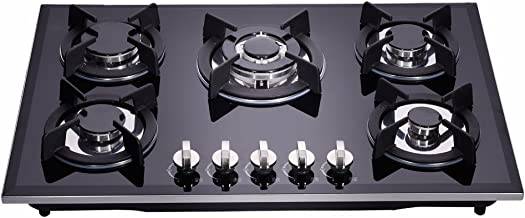 Deli-kit 30 inch Gas Cooktops Dual Fuel Sealed 5 Burners Drop-In Tempered Glass Gas Hob DK157-A01S Gas Cooktop
