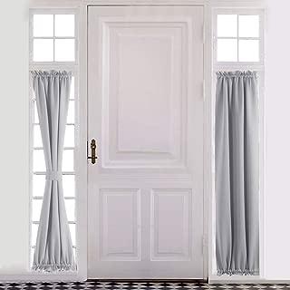 Aquazolax Rod Pocket French Door Curtain Drapes - Blakout Door Panel 25x72-Inch Premium Window Treatment Coverings for Glass Door - 1 Panel, Greyish White