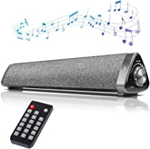 16inch Sound Bars for TV, COSOOS Bluetooth Soundbar Wireless,Built-in Battery,Remote Control,Microphone,10W Speaker PC,Projector,Tablet,MacBook,Support Aux,RCA,USB-DAC,TF Card