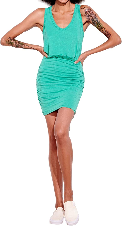 SUNDRY Ruched U Neck Dress