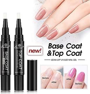 Base Top Coat Gel Pen Set, Saviland Soak Off UV LED No Wipe Top and Base Coat Gel Nail Polish Varnish LacquerNail Art Tool Set