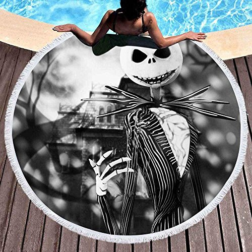 Changlesu - Toalla de playa o de baño redonda y grande de microfibra para adultos y niños, esterilla de yoga con borlas o manta con un estampado de Pesadilla antes de Navidad, poliéster, 5, 150X150CM