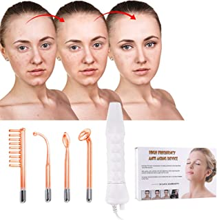 High Frequency Facial Machine, Portable Handheld High Frequency Skin Firming Anti Machine-Orange Red for Wrinkle, Acne, Skin Tightening, Spots, Fine Lines