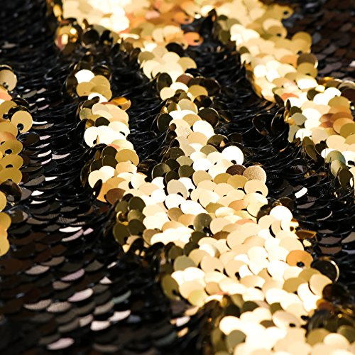 Mermaid Sequin Photo Booth Backdrop, Night Sky Black & Gold Mermaid Sequin Background, 9x8ft Photobooth Photography Backdrop for Parties, Corporate Events, Weddings, & More (Night Sky)